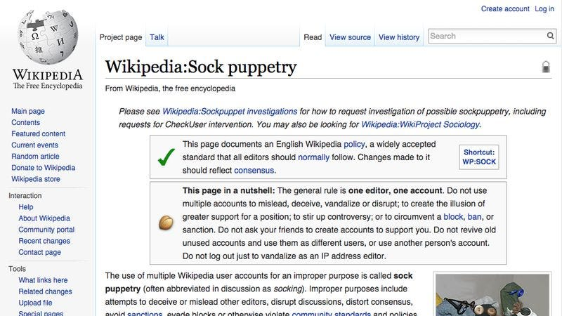 "Illustration for article titled Wikipedia bans a bunch of editors after thrilling ""sock puppet"" investigation"