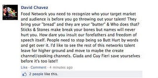 Food Network Facebook page comment from June 2013 (Facebook)