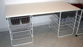 If You Need A Table For Sewing Or Other Crafts You Can Inexpensively Create  A Table With Storage By Attaching Two Ikea Antonius Frame And Wire Baskets  To A ...