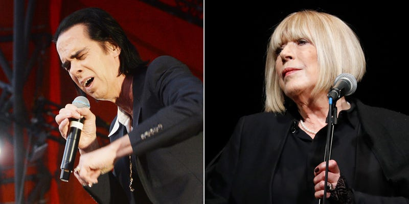 Nick Cave (Photo: Rune Hellestad/Corbis via Getty Images) and Marianne Faithfull (Francois Guillot/AFP/Getty Images)