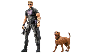 Illustration for article titled Marvel's Amazing Pizza Dog Figure Comes With A Great Hawkeye Accessory