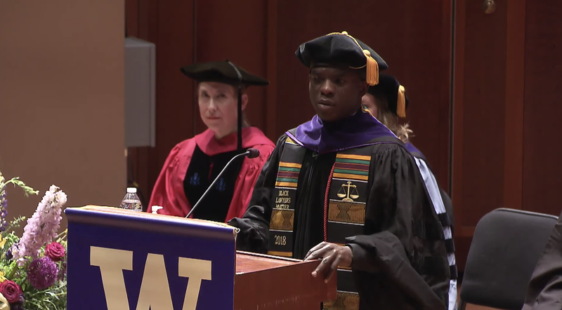 "One of the ""Jena Six,"" Theo Shaw gives a commencement address at the University of Washington Law School on June 3, 2018, in Seattle."