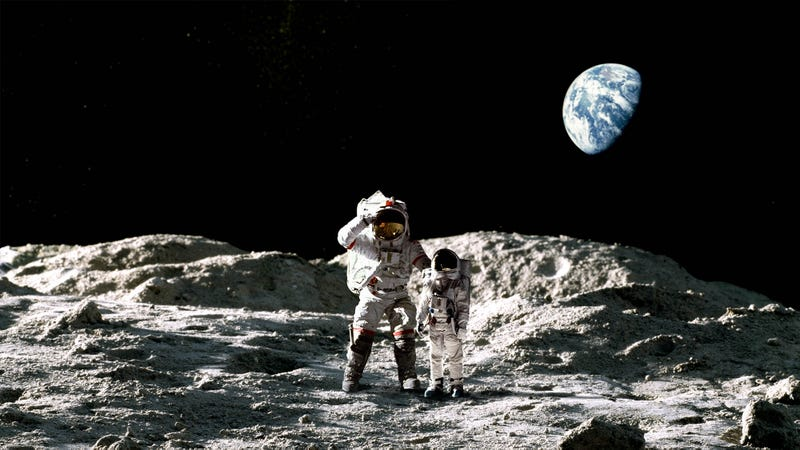 Illustration for article titled 'One Day This Will All Be Yours,' Says Buzz Aldrin While Showing Great-Grandson Around Moon