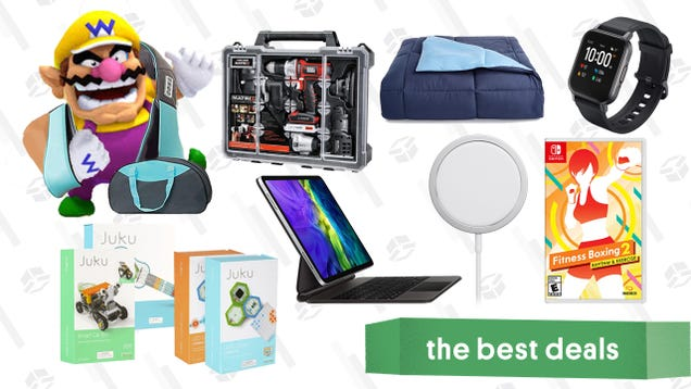 Tuesday s Best Deals: InvoSpa Body Massagers, Aukey Smart Watch, Down Comforter, Fitness Boxing 2, Black & Decker Cordless Drill Kit, STEAM Coding Kits, and More