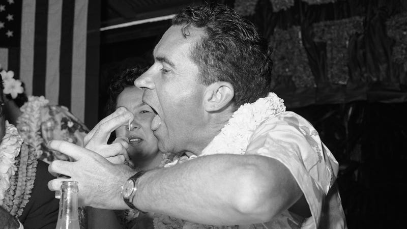VP Richard Nixon tries poi in Hawaii in 1960. Photo via AP Images.