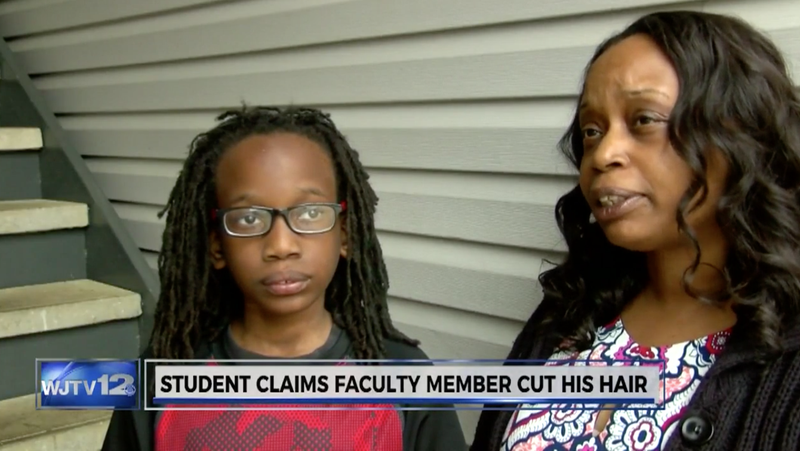 Lattrice Averette (right) and her son, T.J. White, say his hair was forcibly cut by a guidance counselor and a principal at his school, a claim that school officials deny.
