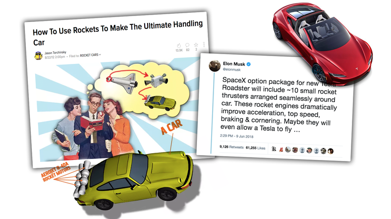 Illustration for article titled Elon Musk's Tweet About Rockets On A Car Is The Same Idea I Had Six Years Ago