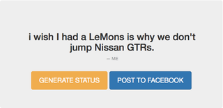 Illustration for article titled Predictive Facebook App Generates Most Jalop-Worthy Statuses Yet