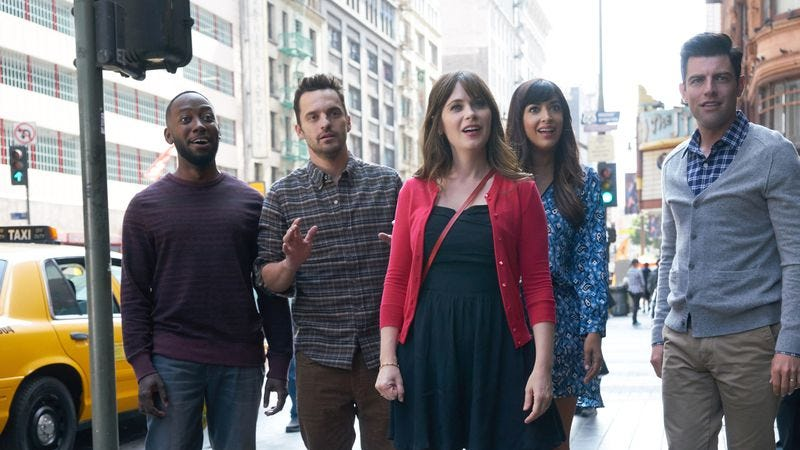 (Lamorne Morris, Jake Johnson, Zooey Deschanel, Hannah Simone, Max Greenfield) (Photo: Adam Taylor/FOX)