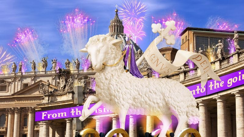 Illustration for article titled Pope Francis Rides Into St. Peter's Square On Giant Glowing Lamb For Easter Mass