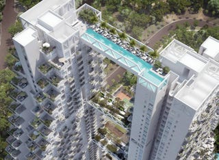 Illustration for article titled Two skyscrapers joined by a bridge that is a swimming pool
