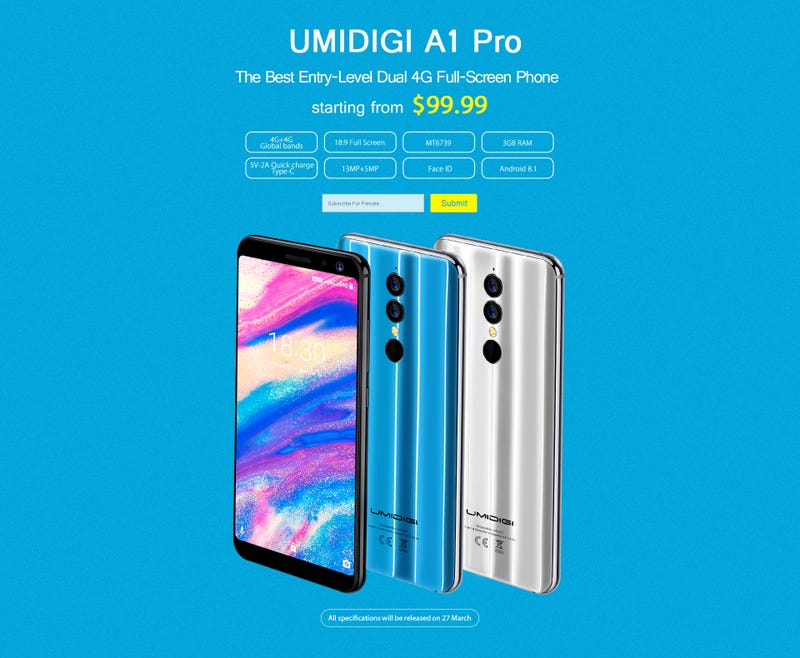 Illustration for article titled UMIDIGI A1 Pro, Best Entry-level Smartphone Announced