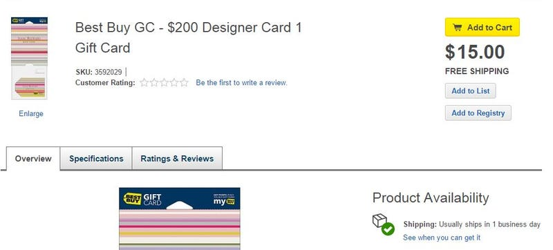 Illustration for article titled Best Buy Is [Update: Was] Selling $200 Gift Cards for $15