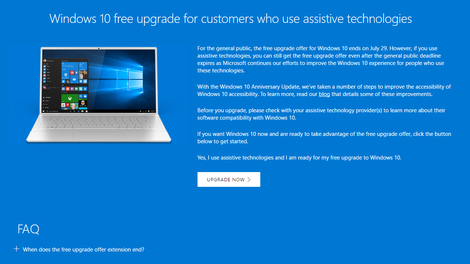 windows 10 free upgrade assistive technologies product key