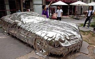 Illustration for article titled Precious Metal-Plating Wars Turn So Hot, Chrome Mercedes SLR Melts