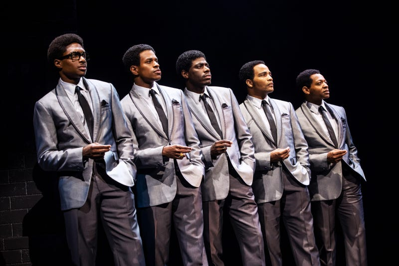 "Ephraim Sykes, Jeremy Pope, Jawan M. Jackson, James Harkness, and Derrick Baskin in ""Ain't Too Proud to Beg: The Life and TImes of the Temptations"""