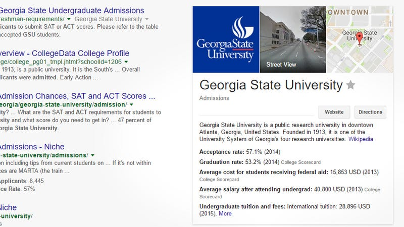 Illustration for article titled Google Shows College Scorecard Information When You Search For Universities