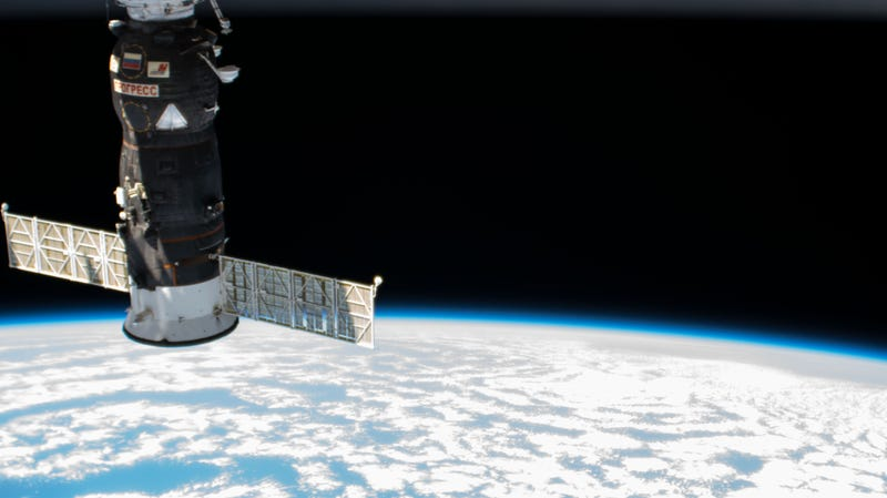 A previous Russian Progress cargo ship docked to the Pirs docking compartment of the International Space Station.
