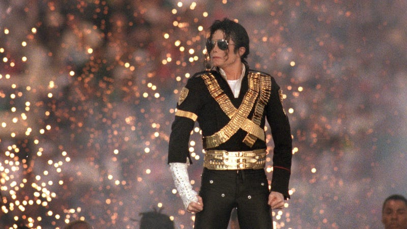 Michael Jackson performs during the Halftime show in Super Bowl XXVII on January 31, 1993 in Pasadena, California.