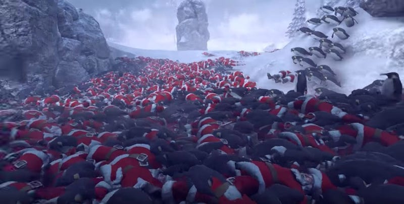 Illustration for article titled Hmmm, Yes, I Am Extremely Into This Game In Which 11,000 Penguins War With 4,000 Santas