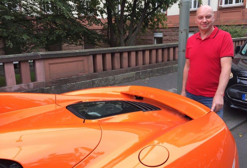 Markus Zahn and his McLaren Spider. Image: Carolin Eckenfels/dpa via AP