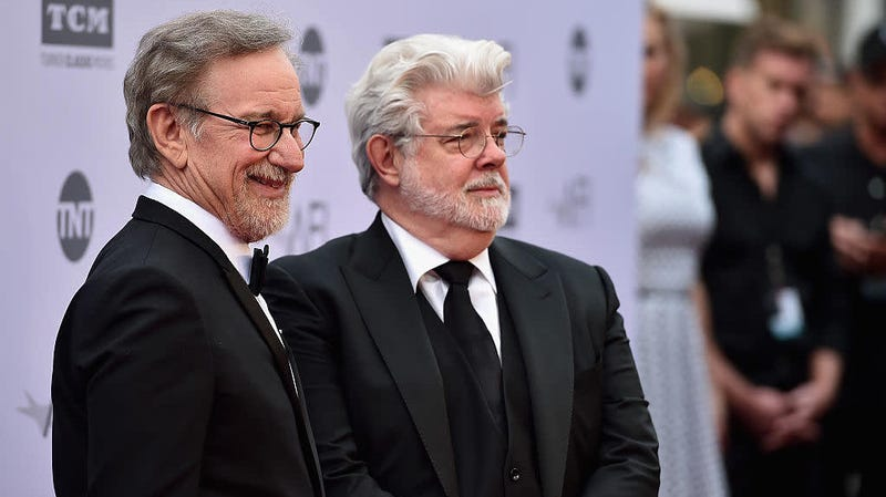 Steven Spielberg and George Lucas at the American Film Institute's 44th Life Achievement Award Gala Tribute to John Williams on June 9, 2016, in Hollywood.