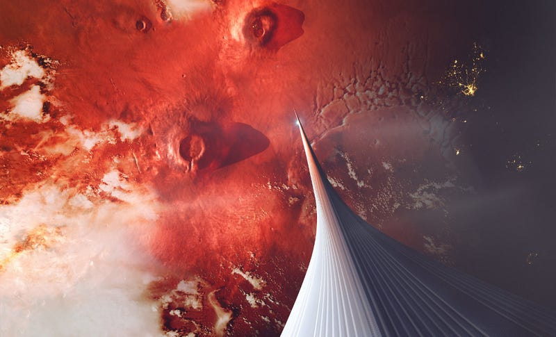 Illustration of a space elevator — on Mars (Ludovic Celle).