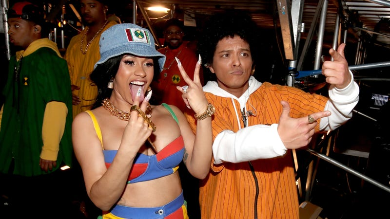 Recording artists Cardi B and Bruno Mars attend the 60th Annual GRAMMY Awards at Madison Square Garden on January 28, 2018 in New York City.