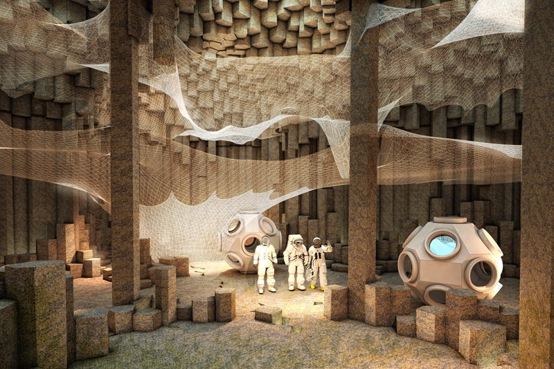 Illustration for article titled Architects envision an underground colony on Mars