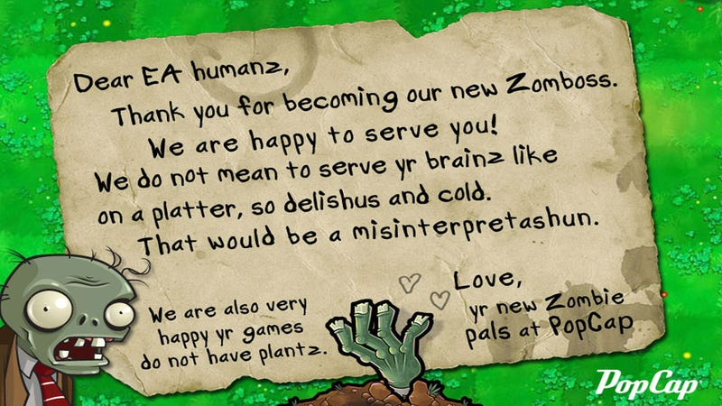 Illustration for article titled Zombies Welcome Their New EA Masters, Do Not Wish To Eat Their Brains At All