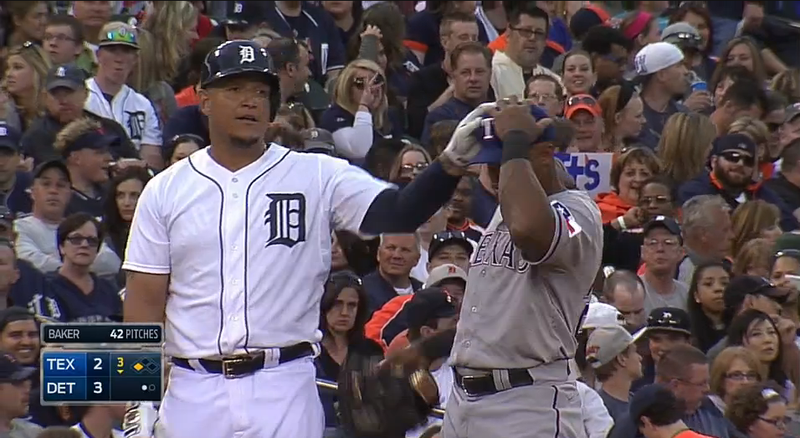 Illustration for article titled Miguel Cabrera Touches Adrian Beltre's Head; Beltre Flips Out