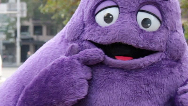 Illustration for article titled It's Sad When You Realize Your Hero Is Human, Only Wearing An Incredibly Convincing Grimace Costume