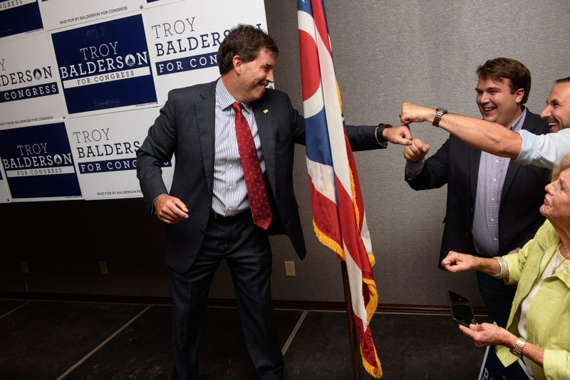 Republican congressional candidate Troy Balderson celebrates after giving his victory speech at his election night party at the DoubleTree by Hilton Hotel on August 7, 2018 in Newark, Ohio. With less than 1 percent of the votes separating the candidates, the race between Balderson and Democratic challenger O'Connor was left too close to call, with Balderson holding onto the slight lead as the evening ended.