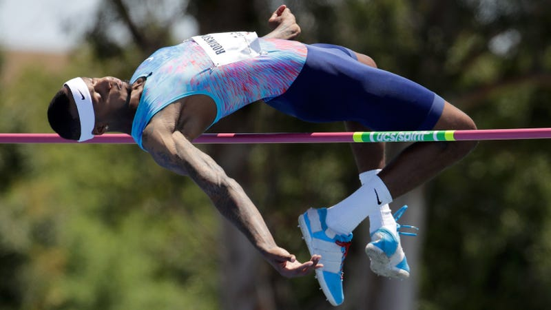 Photo of Ricky Robertson, who can jump over seven feet off the ground, by Andy Lyons / Getty.