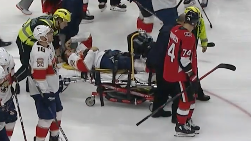 Illustration for article titled Vincent Trocheck Taken Off Ice On Stretcher After His Leg Does Several Wrong Things All At Once