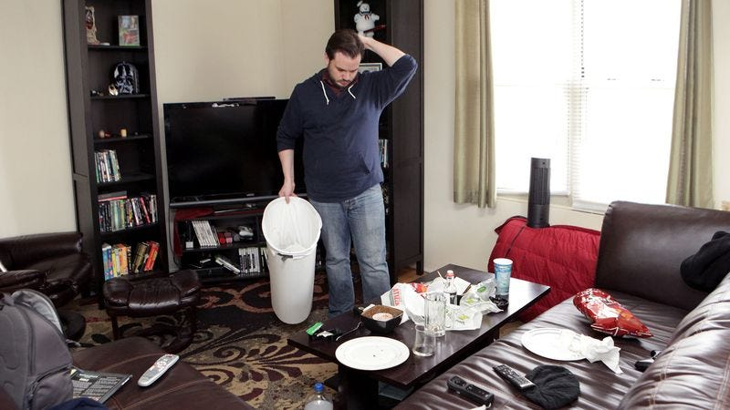 Illustration for article titled Area Man Cleans Apartment Once Every Relationship
