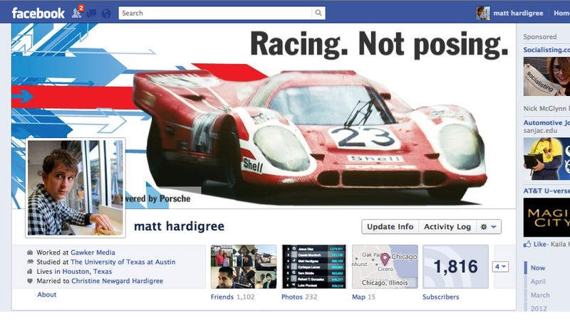 Illustration for article titled How To Make Your Own Custom Porsche Facebook Cover Photo