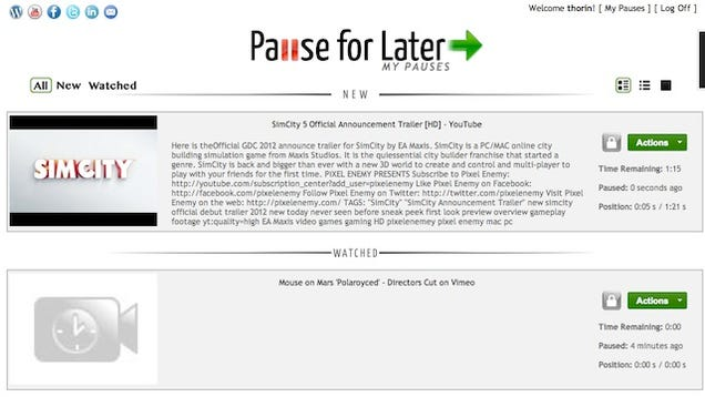 pause for later saves your location in web so you