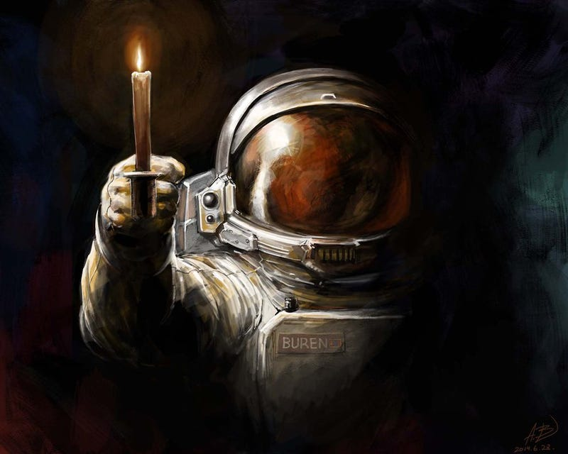 concept art writing prompt the astronaut lights a candle