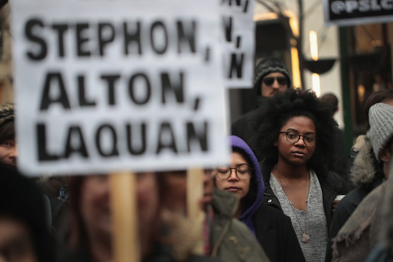In recognition of the 50th anniversary of the death of Martin Luther King Jr., and in solidarity with the family and supporters of Stephon Clark and others killed by police, demonstrators protest and march in the Magnificent Mile shopping district on April 2, 2018, in Chicago.