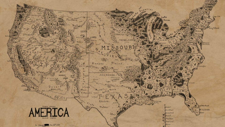A map of the United States drawn in the style of Lord of the Rings