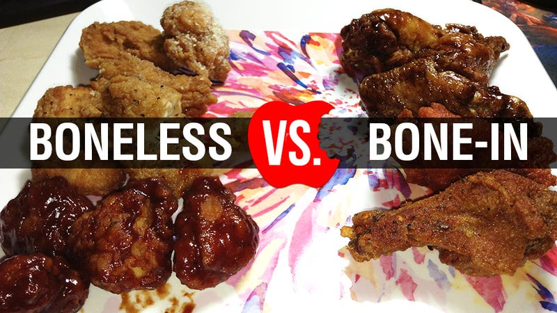 Illustration for article titled Boneless Vs. Bone-In Chicken Wings: The Snacktaku Showdown