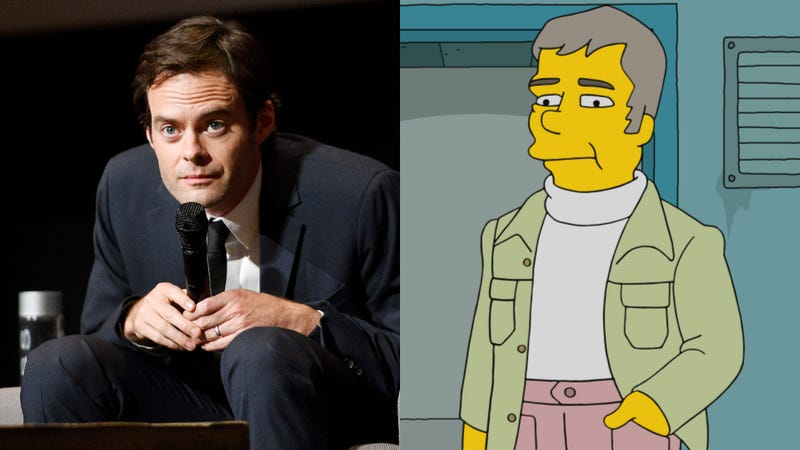 Bill Hader (left) and his new Simpsons alter ego, Manacek