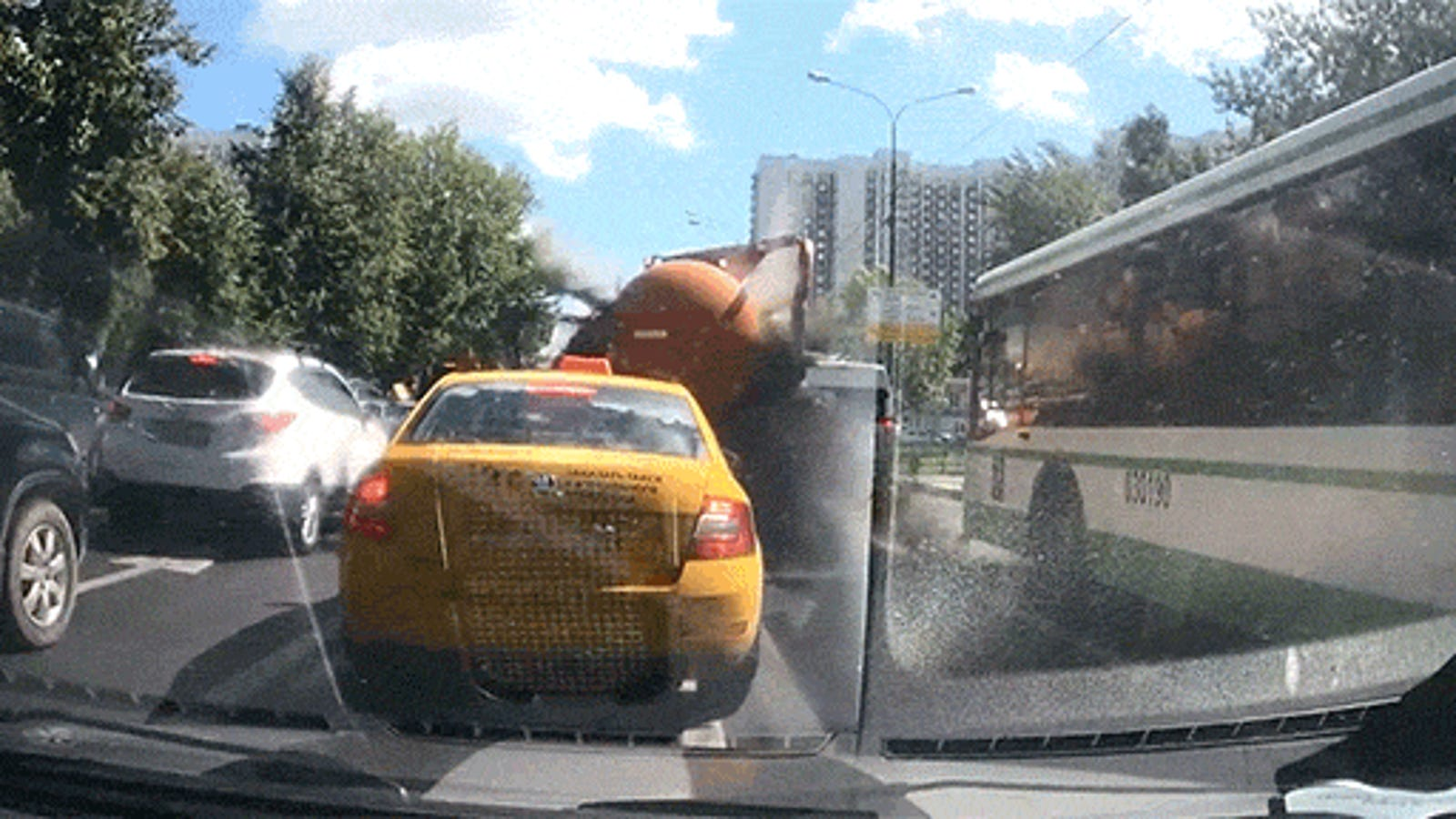 Watch a Sewage Truck Explode Even Though You Probably Don't Want To