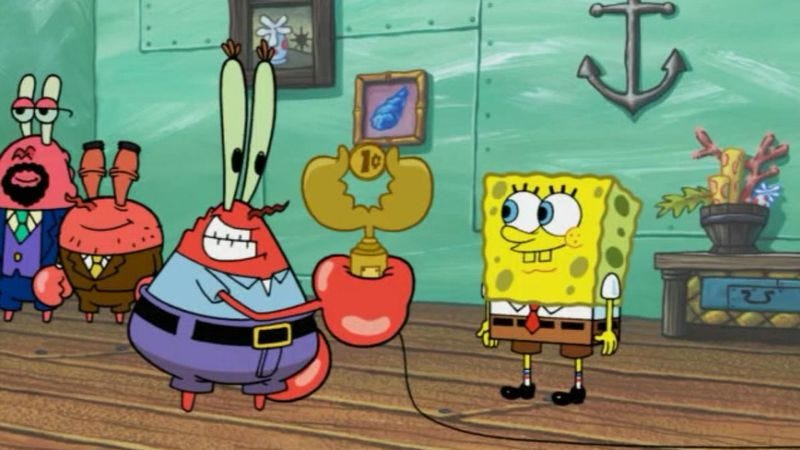 mr krabs was spongebob squarepants award winning cheapskate