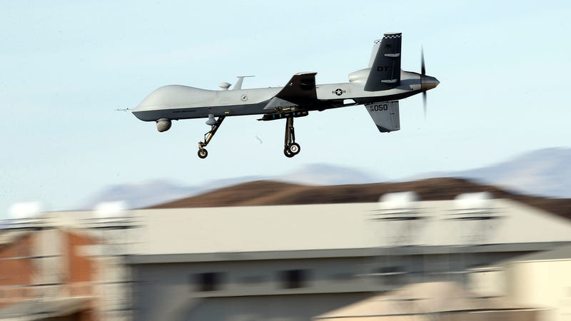 A MQ-9 Reaper drone being flown during exercises at Creech Air Force Base in Nevada, 2015.