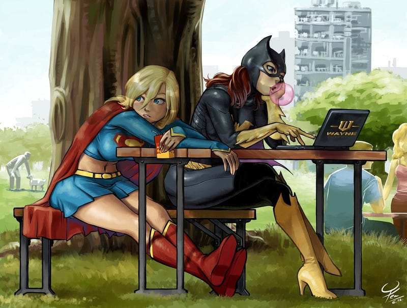 Illustration for article titled I was thinking about how I wanted a Batgirl/Supergirl comic title...