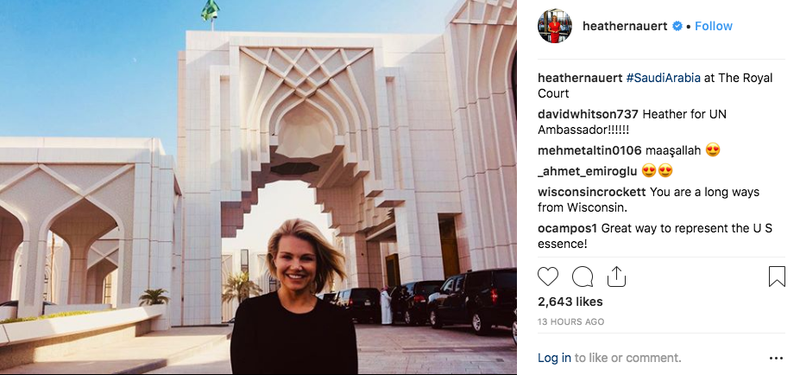 Illustration for article titled Wow Heather Nauert is Really Happy to Be in Saudi Arabia