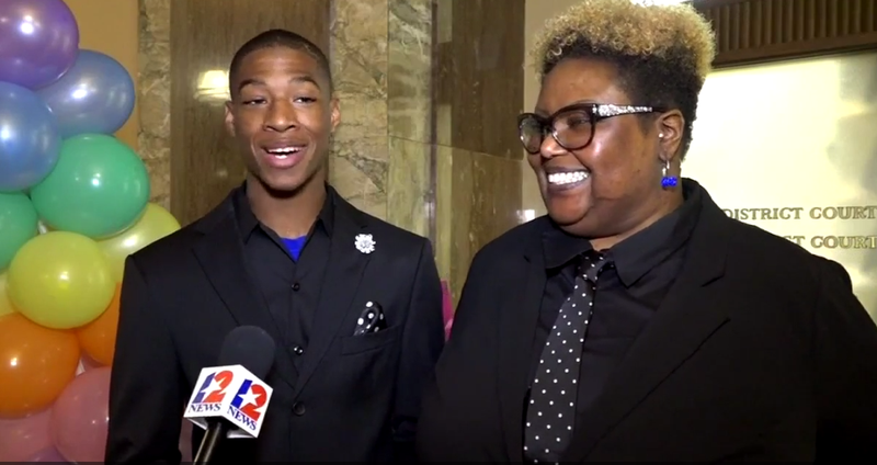 Anthony Berry and his mom, Bennie Berry (KTRK-TV screenshot)