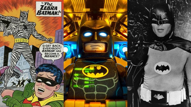 L-R: The cover of Detective Comics Volume 1 #275, The Lego Batman Movie, and Adam West as Batman in 1967 (Images: DC Comics; Warner Bros. Pictures; Evening Standard/Getty Images)